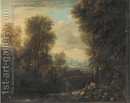 An Italianate river landscape with a drover and his cattle resting on a river bank, other figures beyond by (after) Gaspard Dughet - Reproduction Oil Painting