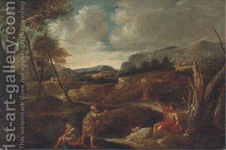 Christ and Saint John the Baptist in a landscape with other figures by (after) Gaspard Dughet - Reproduction Oil Painting