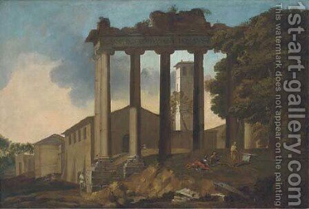 The Temple of Concorde, Rome, with classical figures in the foreground by (after) Gaspard Dughet - Reproduction Oil Painting