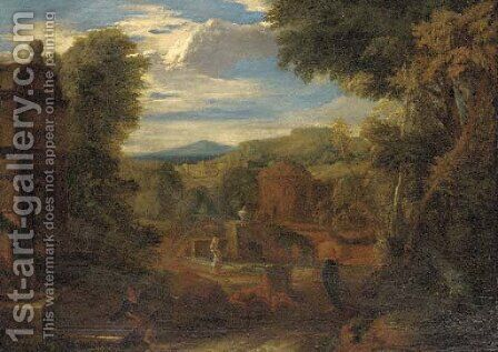 A capriccio of classical buildings in a landscape, figures in the foreground by (after) Gaspard Dughet - Reproduction Oil Painting