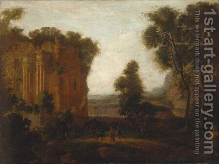 A classical Italianate landscape with travellers and a donkey on a track by (after) Gaspard Dughet - Reproduction Oil Painting