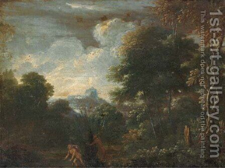 A wooded landscape with Pan and Ceres by (after) Gaspard Dughet - Reproduction Oil Painting