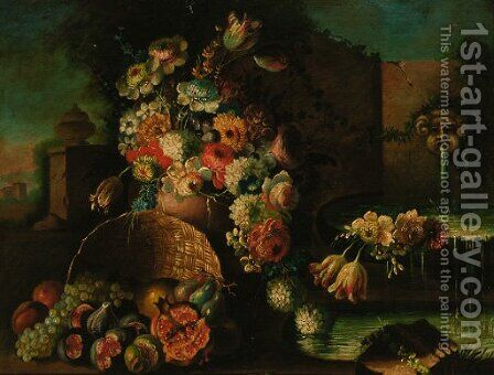 Roses, tulips, daisies and other flowers in a vase by (after) Gasparo Lopez - Reproduction Oil Painting