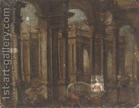 A capriccio of a palace courtyard with figures playing music and dancing by (after) Gennaro Greco, Il Mascacotta - Reproduction Oil Painting