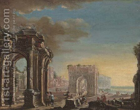 A capriccio of classical ruins with elegant figures conversing in the foreground by (after) Gennaro Greco, Il Mascacotta - Reproduction Oil Painting