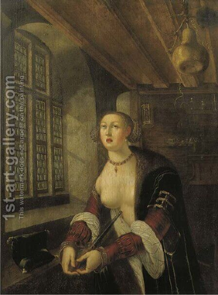 Lucretia by (after) Georg Pencz - Reproduction Oil Painting