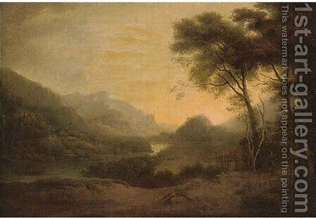 A mountainous river landscape by (after) George Arnald - Reproduction Oil Painting