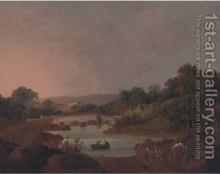 Figures with a donkey resting by a river by (after) George Arnald - Reproduction Oil Painting