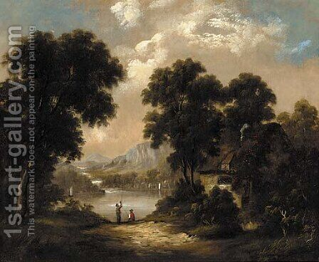 Anglers in a lake landscape by (after) George Barret - Reproduction Oil Painting
