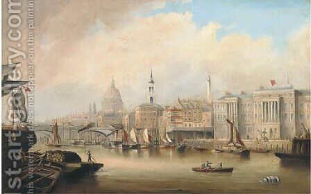 View down the Thames, with Blackfriars and St. Paul's Cathedral beyond by (after) George Chambers - Reproduction Oil Painting
