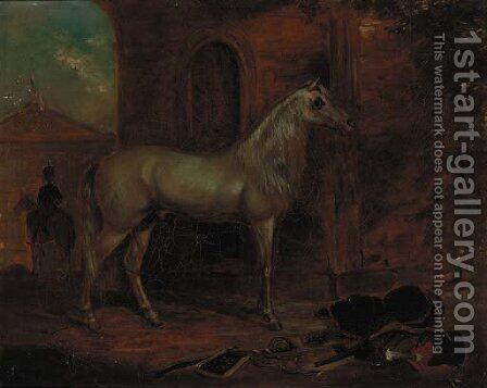 A grey stallion in a stable, a portico beyond by (after) George Henry Laporte - Reproduction Oil Painting