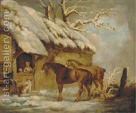A stable introduction by (after) George Morland - Reproduction Oil Painting
