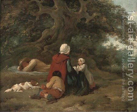 A wayside rest by (after) George Morland - Reproduction Oil Painting