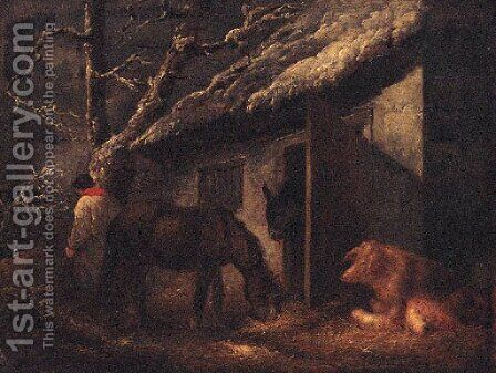 A Winter Stable by (after) Of George Morland - Reproduction Oil Painting