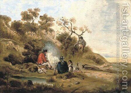 A wooded river landscape with figures by a camp fire by (after) George Morland - Reproduction Oil Painting