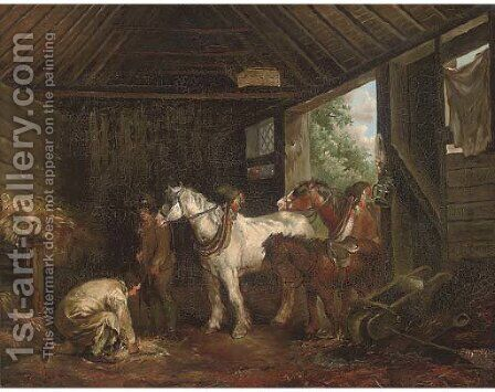 In the stable 3 by (after) George Morland - Reproduction Oil Painting