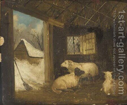Sheep in a stable in winter by (after) George Morland - Reproduction Oil Painting