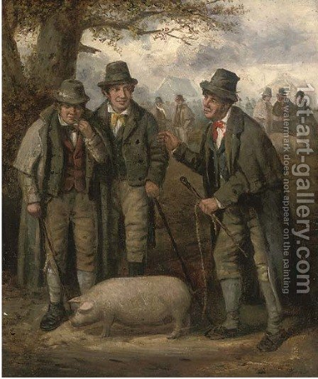 The pig market by (after) George Morland - Reproduction Oil Painting