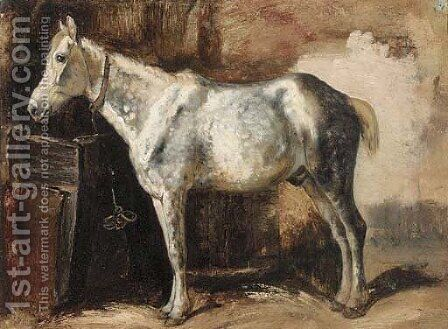 A grey in a stable by (after) George Paice - Reproduction Oil Painting