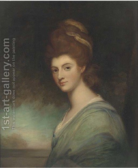 Portrait of a lady, bust-length, in a turquoise dress by (after) Romney, George - Reproduction Oil Painting