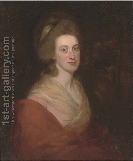 Portrait of a lady, half-length, in a pink dress and orange wrap by (after) Romney, George - Reproduction Oil Painting