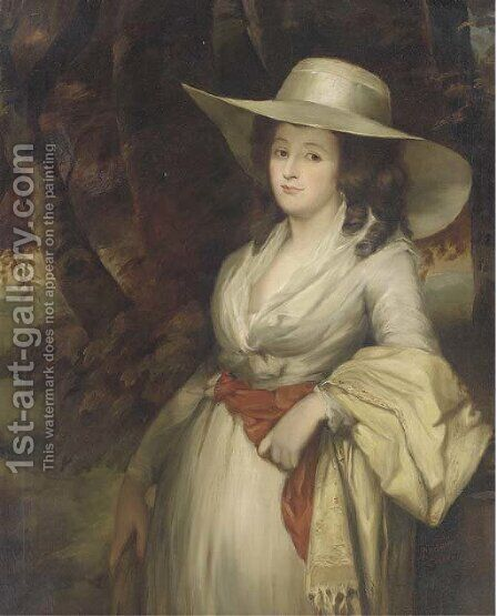 Portrait of a lady, three-quarter-length, in a white dress and straw hat by (after) Romney, George - Reproduction Oil Painting
