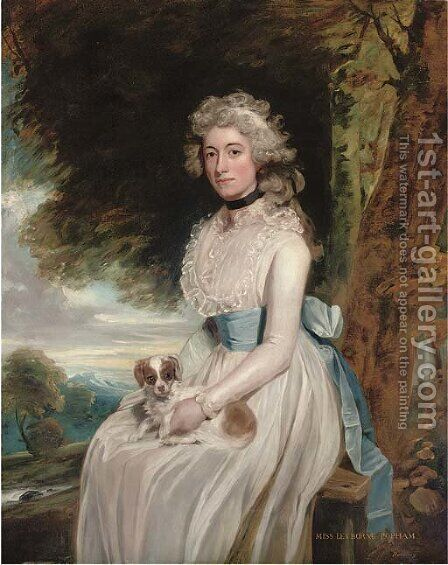 Portrait of a lady, traditionally identified as Miss Leyborne Popham, three-quarter-length, in a white dress with a blue sash, a dog on her lap by (after) Romney, George - Reproduction Oil Painting