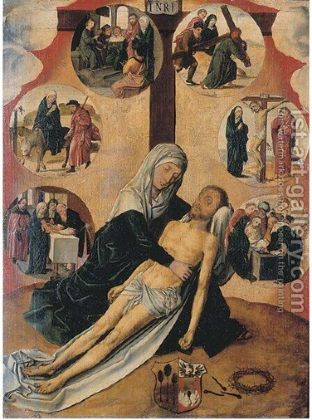The Lamentation, with medallions depicting The Circumcision by (after) Gerard David - Reproduction Oil Painting