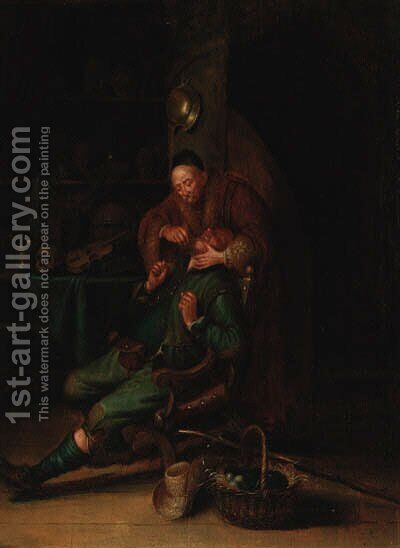 A dentist pulling teeth in an interior by (after) Gerrit Dou - Reproduction Oil Painting