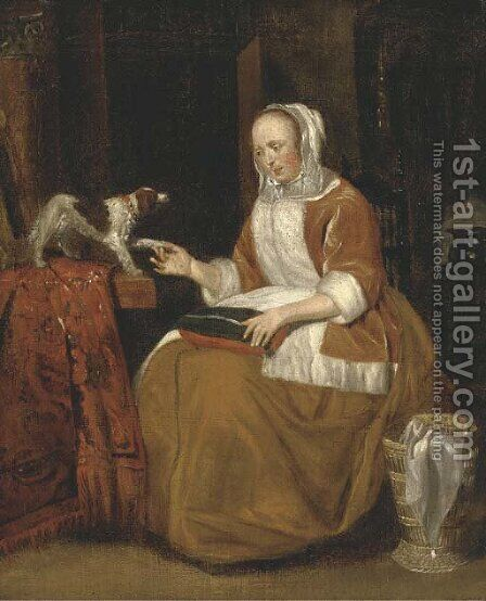 A lady seated in an interior, with a dog on a partly draped table by (after) Gerard Ter Borch - Reproduction Oil Painting