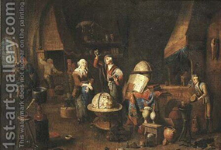 A piskijker A woman visiting the doctor in his studio, his assistants at work nearby by (after) Gerard Thomas - Reproduction Oil Painting