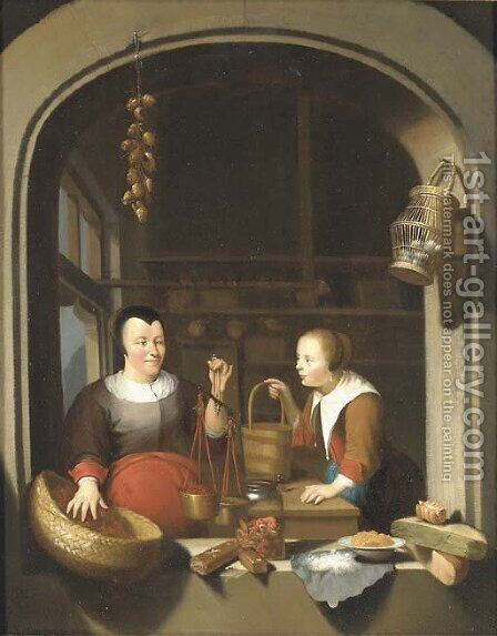 A shop-keeper and a maid seen through a casement by (after) Gerrit Dou - Reproduction Oil Painting