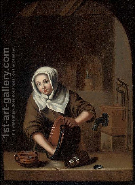 A woman cleaning pots at a casement by (after) Gerrit Dou - Reproduction Oil Painting