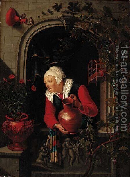 An elderly woman watering flowers at a niche window by (after) Gerrit Dou - Reproduction Oil Painting