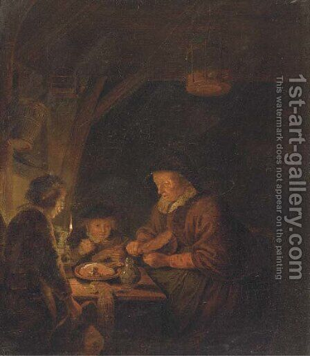 An old woman and two children eating by candlelight in an interior by (after) Gerrit Dou - Reproduction Oil Painting
