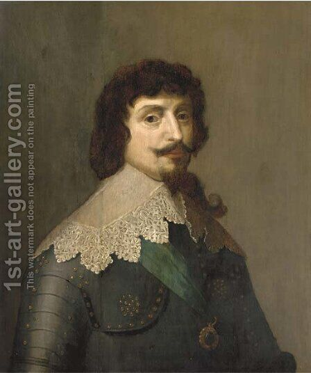Portrait of King Frederick V of Bohemia, the Winter King (1596-1632), half-length, in armour by (after) Honthorst, Gerrit van - Reproduction Oil Painting