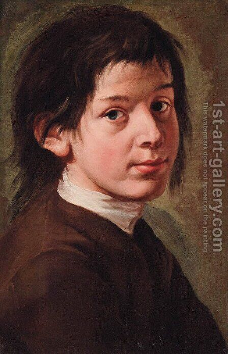 Portrait of a boy, bust-length, in a brown jacket by (after) Giacomo Francesco Cipper, Il Todeschini - Reproduction Oil Painting