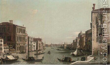 The Grand Canal, Venice, looking East from the Campo di San Vio by (after) (Giovanni Antonio Canal) Canaletto - Reproduction Oil Painting