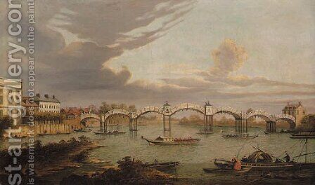 View of Hampton Court Bridge, with boats on the River Thames and King Henry VIII's Chapel beyond by (after) (Giovanni Antonio Canal) Canaletto - Reproduction Oil Painting