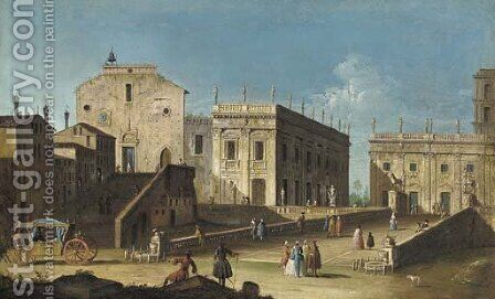 Rome, Santa Maria in Aracoeli and the Campidoglio by (after)(Giovanni Antonio Canal) Canaletto - Reproduction Oil Painting