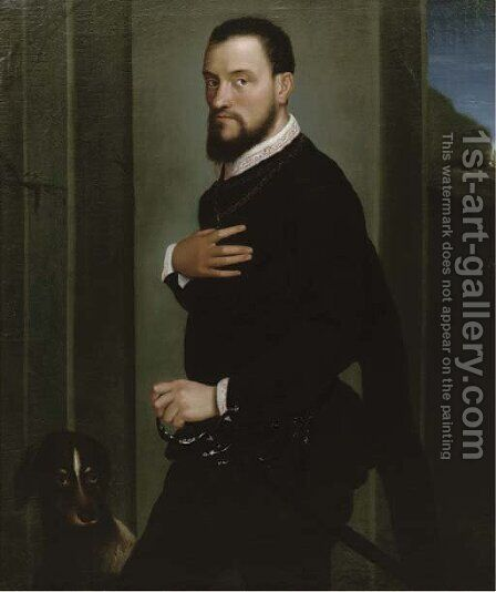 Portrait of a nobleman by (after) Giovanni Battista Moroni - Reproduction Oil Painting