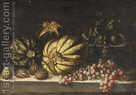 Melons, grapes and figs on a ledge by (after) Giovanni Battista Ruoppolo - Reproduction Oil Painting