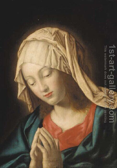 The Madonna at prayer 2 by (after) Giovanni Battista Salvi, Il Sassoferato - Reproduction Oil Painting