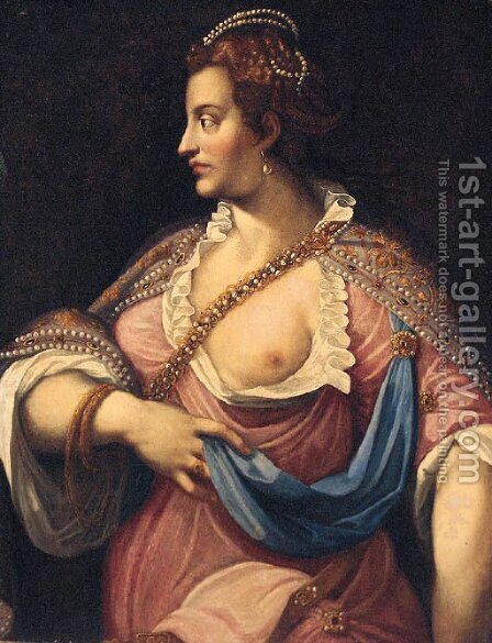 A maiden, three-quarter-length by (after) Gian Battista Zelotti - Reproduction Oil Painting