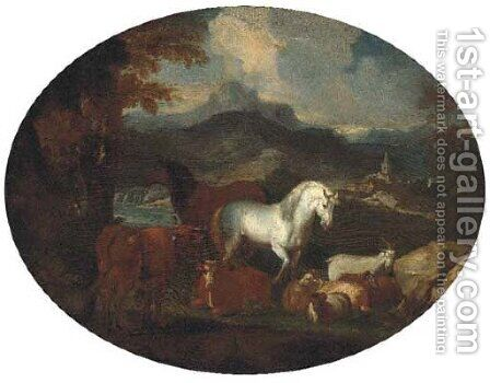 Horses, cattle, goats and rams by a lake in a mountain landscape by (after) Giovanni Benedetto Castiglione - Reproduction Oil Painting