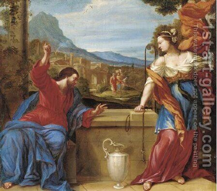 Christ and the Woman of Samaria by (after) Giovanni Francesco Romanelli - Reproduction Oil Painting