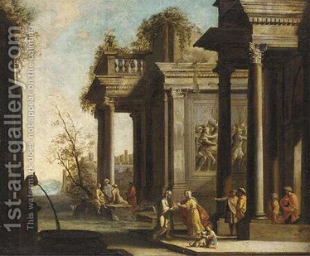 A capriccio of architectural ruins with classical figures by (after) Giovanni Ghisolfi - Reproduction Oil Painting