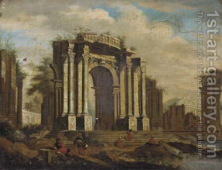 A capriccio of classical ruins with soldiers and other figures in the foreground by (after) Giovanni Ghisolfi - Reproduction Oil Painting