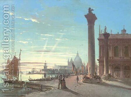 The Piazzetta of San Marco at dusk, Venice by (after) Giovanni Grubacs - Reproduction Oil Painting