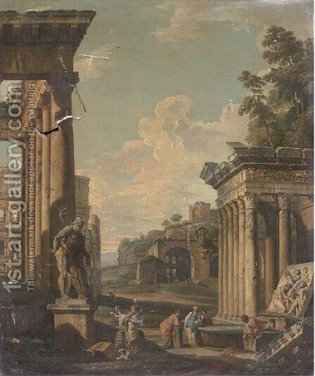 A capriccio of classical architecture with figures by a fountain by (after) Giovanni Paolo Panini - Reproduction Oil Painting